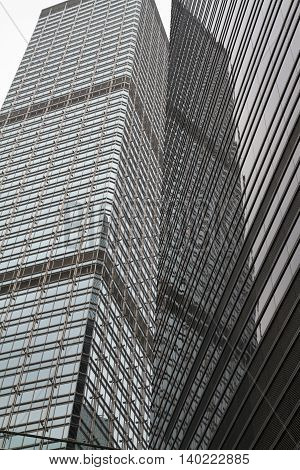 Glass and steel highrise skyscraper in Hong Kong China