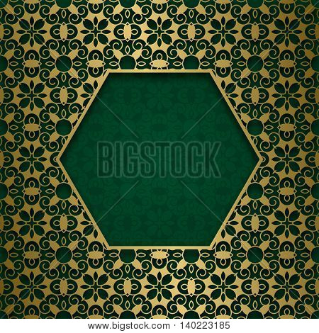 Traditional ornamental background with hexagonal patterned frame