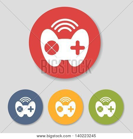 Flat joystick icons in colorful circles set vector illustration