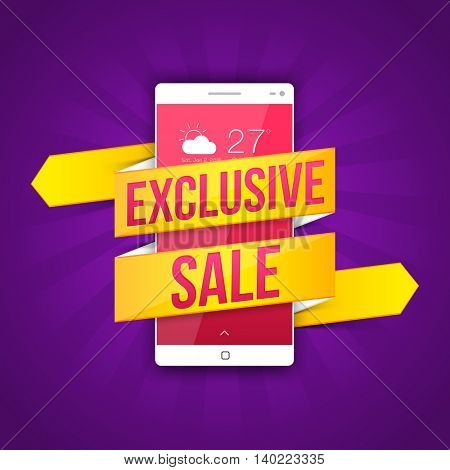Creative Exclusive Sale Ribbon with Smartphone on purple rays background, Can be used as Poster, Banner or Flyer design.