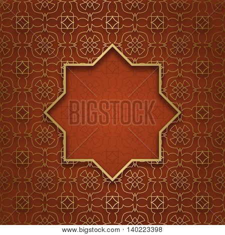 Traditional ornamental background with eight pointed frame
