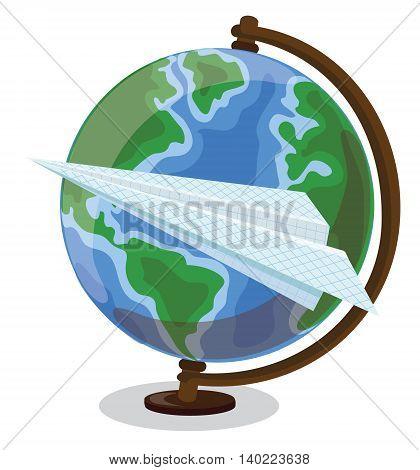 Cartoon globe and paper plane, vector illustration for school
