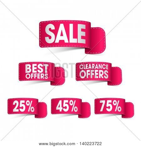 Set of creative glossy Ribbons of Sale and Discounts on white background, Can be used as Sticker, Tag or Label design also.