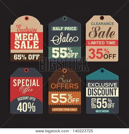 Set of six creative Sale or Price Tags, Labels design on grey background.