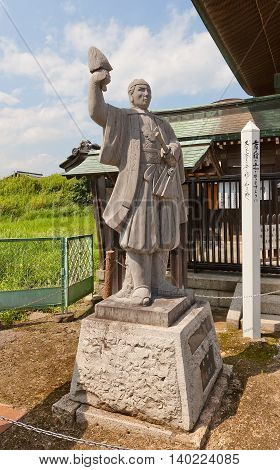 AKO JAPAN - JULY 18 2016: Statue of Oishi Chikara Yoshikane one of famous 47 ronins in the Oishi Shrine. Shrine is dedicated to 47 loyal samurais and is located on the grounds of Ako Castle