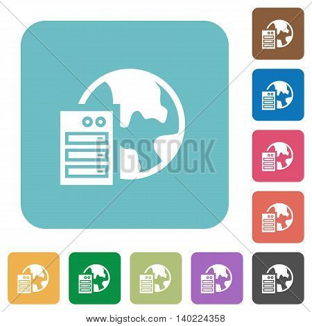 Flat web hosting icons on rounded square color backgrounds.