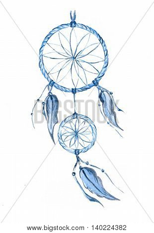 Dreamcatcher painted in watercolor. Traditional Indian talisman.