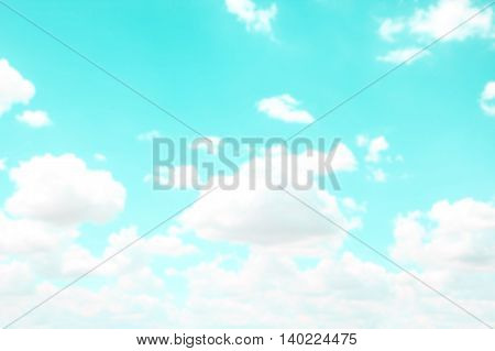 Vintage style. Abstract blurred beautiful the blue sky.