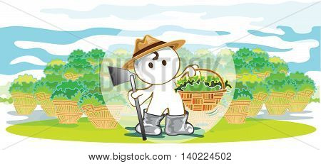Farmers showing harvest crops Acquired are vegetable fruit in a basket cartoon pantomime cute acting graphic design