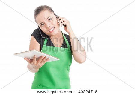 Multitasking Concept With Employee With Tablet And Cellphones