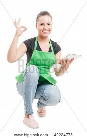 Pretty Supermarket Girl Counting Stock