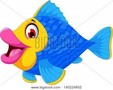 cute blue fish cartoon swimming for you design