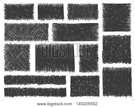 Doodle Hatch Frames Set Grunge Backgrounds