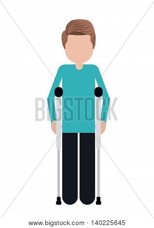 crutches person invalidates isolated icon design, vector illustration  graphic