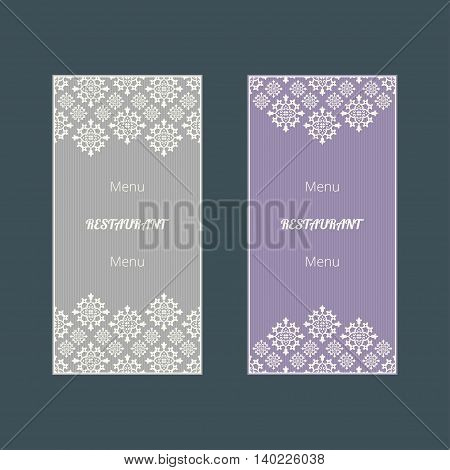 Set of abstract vector cards. Two vector templates with elegant design. Vector menu cards. Vector templates for restaurant menu. Vector menu templates.