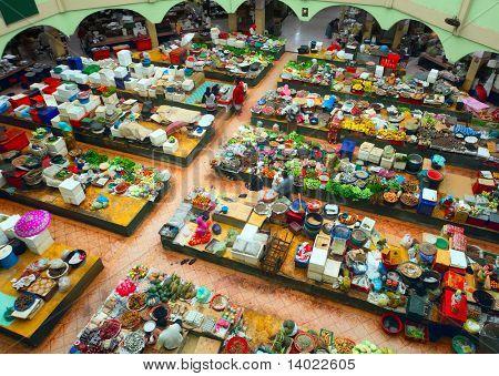Traditional asian market. Malaysia, Kota Bharu, Pasar siti khadijah.