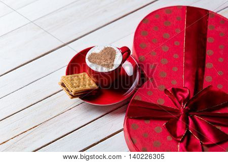 Cup Of Coffee, Cookie And Gift