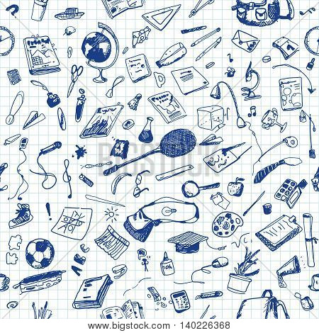 Hand drawn doodle school objects seamless pattern. Blue pen objects, notebook background. Learning, study, poster, flyer, design.