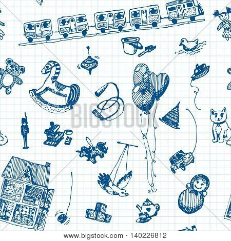 Hand drawn doodle toys seamless pattern. Blue pencil objects, notebook background. Play, game, kids, children, child, poster, flyer, design.