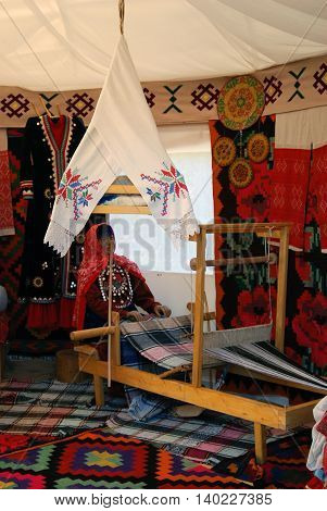 MOSCOW - JULY 17 2016: Yurt interior shown at Sabantui celebration in Moscow in Kolomenskoye park. Sabantui is a national Tatar and Bashkir festival celebration of end of spring field work.