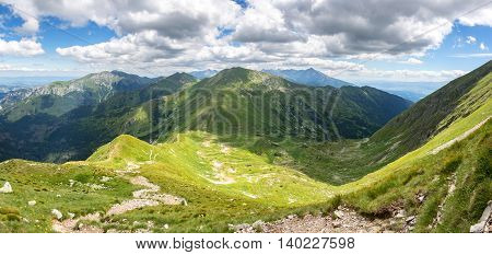 Panoramic View Of Summer Mountains
