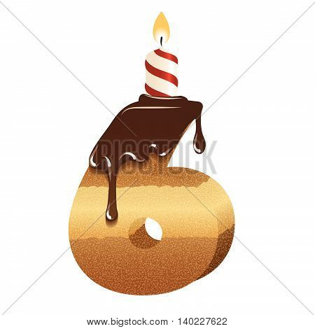 Cake font -number six - 3d -with candle, vector image