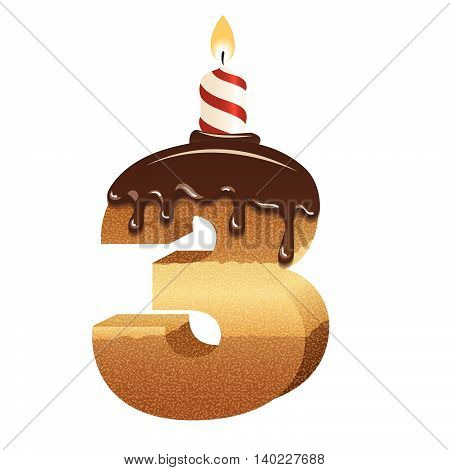 Cake font -number three - 3d -with candle, vector image