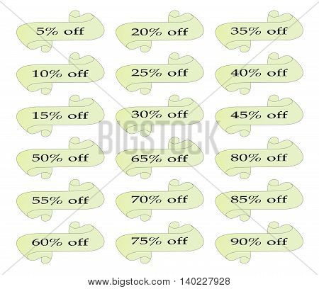 A set of scrolls woth an array of discount percentages