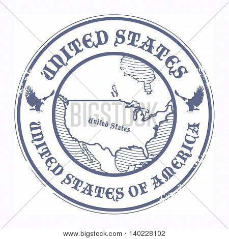 Stamp with the name and map of United States, vector illustration