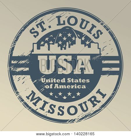 Grunge rubber stamp with name of Missouri, St. Louis, vector illustration