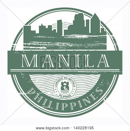 Grunge rubber stamp with the name of Manila, Philippines written inside the stamp, vector illustration