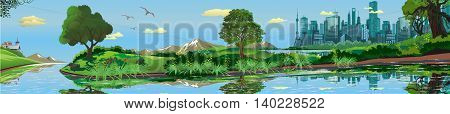 Panoramic landscape - metropolis, lake, river. The town on the island.The island in the lake. The trees and shrubs. Vector illustration
