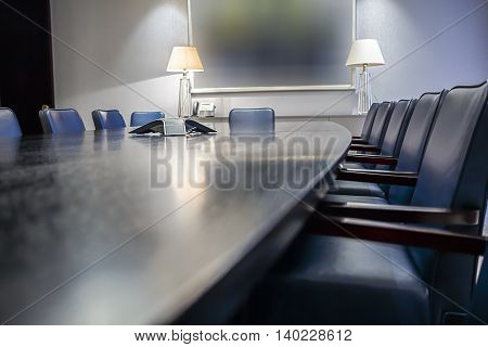Abstract angle of an empty boardroom table