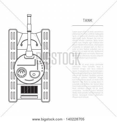 Armored car tank top view with the artillery cannon vector illustration in flat style.