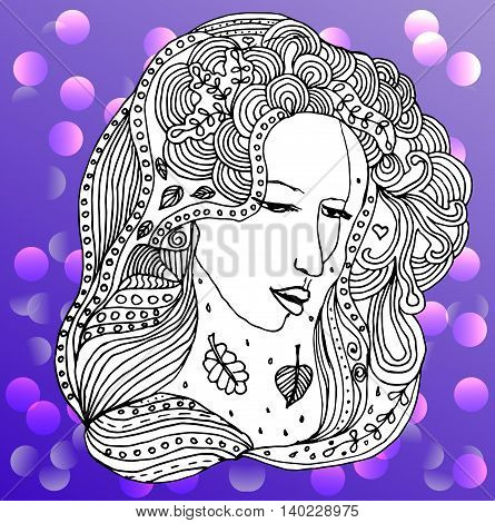 portrait of the beautiful young girl. Black silhouette on white background. Zentagle. Can be used as adult coloring book, coloring page.