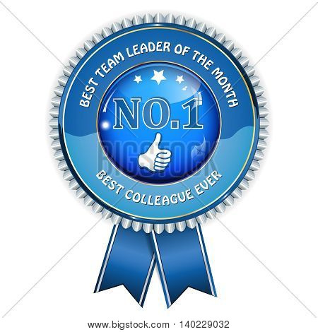 Best Team leader of the month; best colleague ever - blue award ribbon