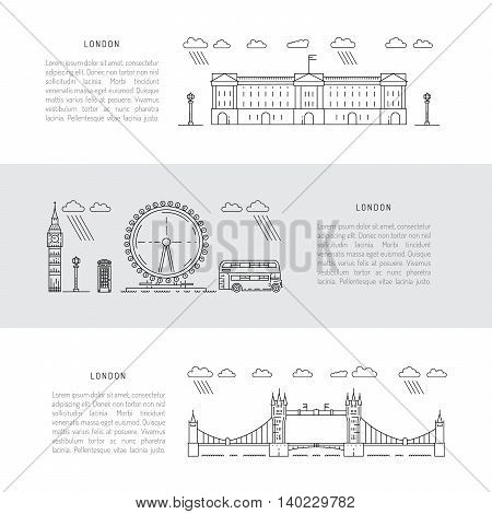 Historical and modern symbols of London and British culture