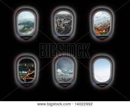 Group of plane windows with different views