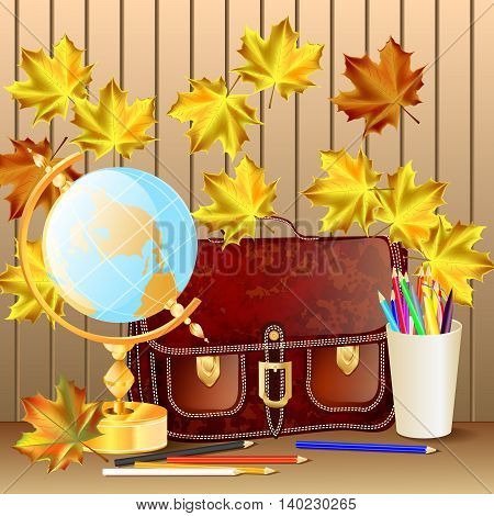 Welcome back to school background, with globe, schoolbag and autumn leaves. Vector illustration.