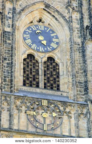 Prague Czech - 03 July 2015: The Clock of St Vitus Cathedral