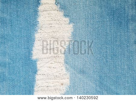 Closeup surface of old jean trousers fabric texture background