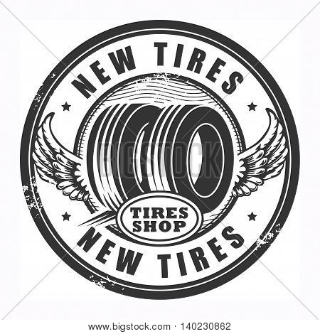 Abstract grunge rubber stamp with tires and the words New Tires written inside, vector illustration