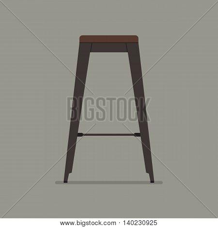 Industrial style steel stool. Flat style vector illustration