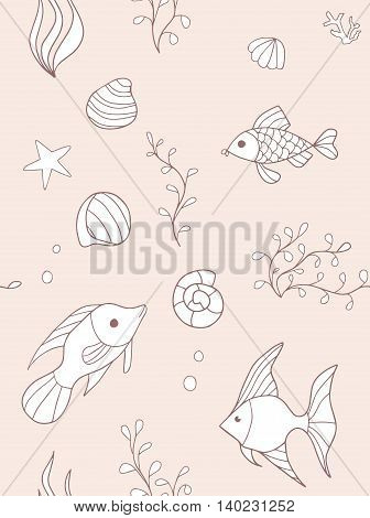 Hand drawn seamless pattern with fishes. Endless texture can be used for wallpaper, textile, pattern fills, web page background.
