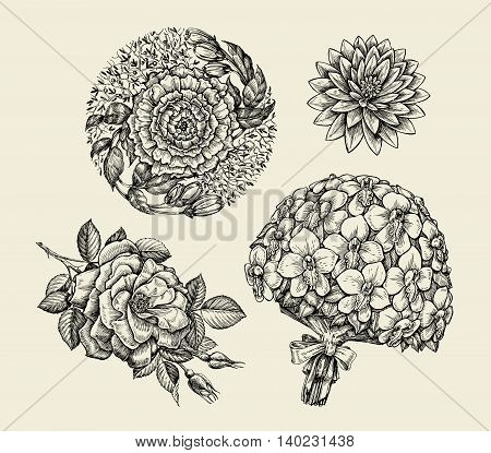 Flowers. Hand-drawn sketch flower, rose, peony, lotus orchid bouquet Vector illustration