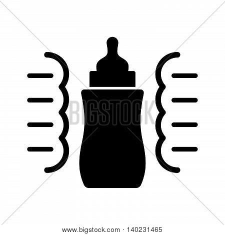 Steam sterilizer for a baby bottle, black on white