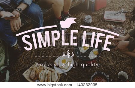 Simple Life Balance Being Enjoy Relax Happiness Concept