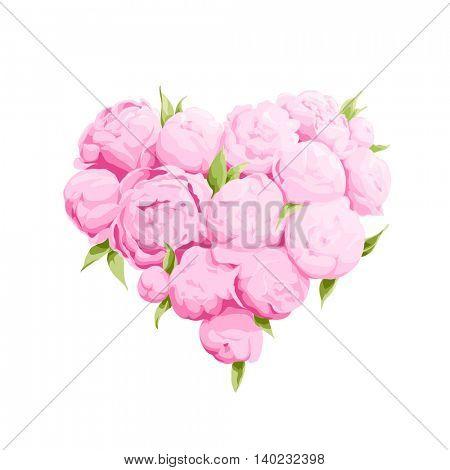 Bright peonies heart