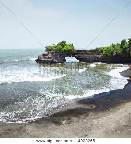 Indonesian temple on sea coast. Tanah lot complex. Bali. Indonesia