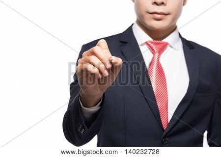 Hands with pen writing on screen isolated